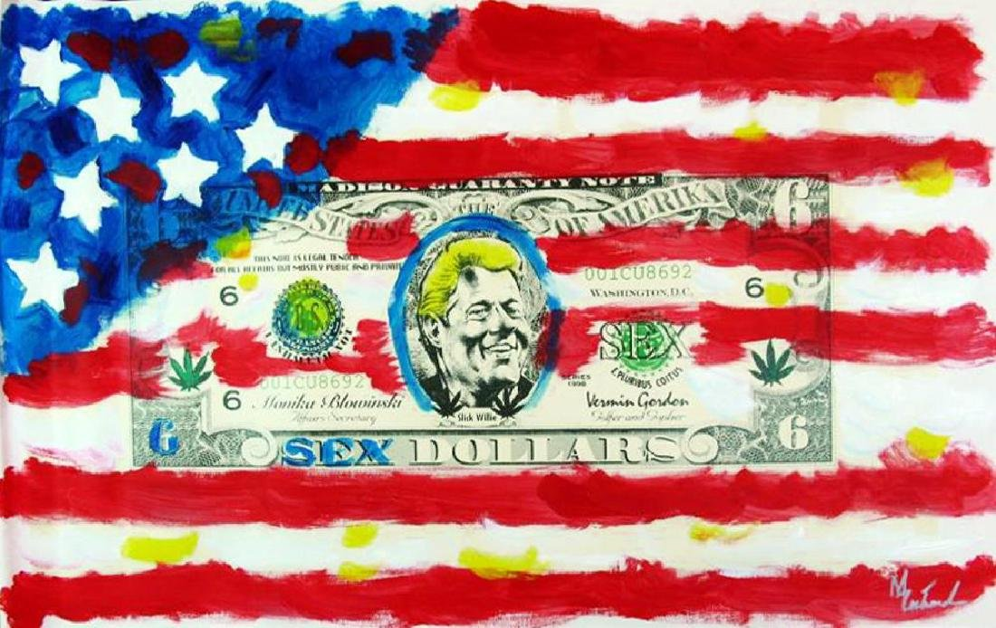 US Flag with Bill Clinton Original Over paint Signed - 3