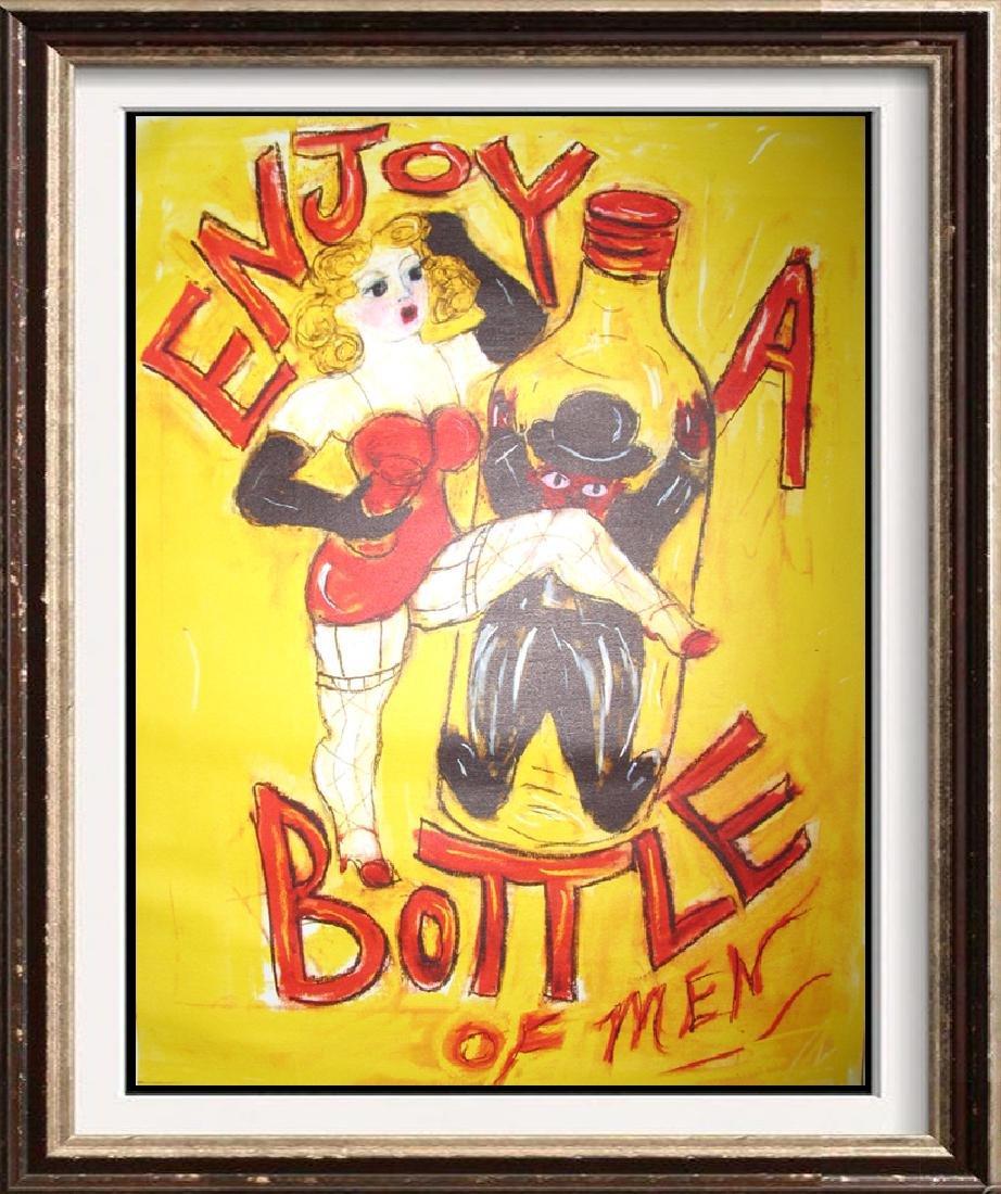 Enjoy a Bottle of Men Giclee on Canvas