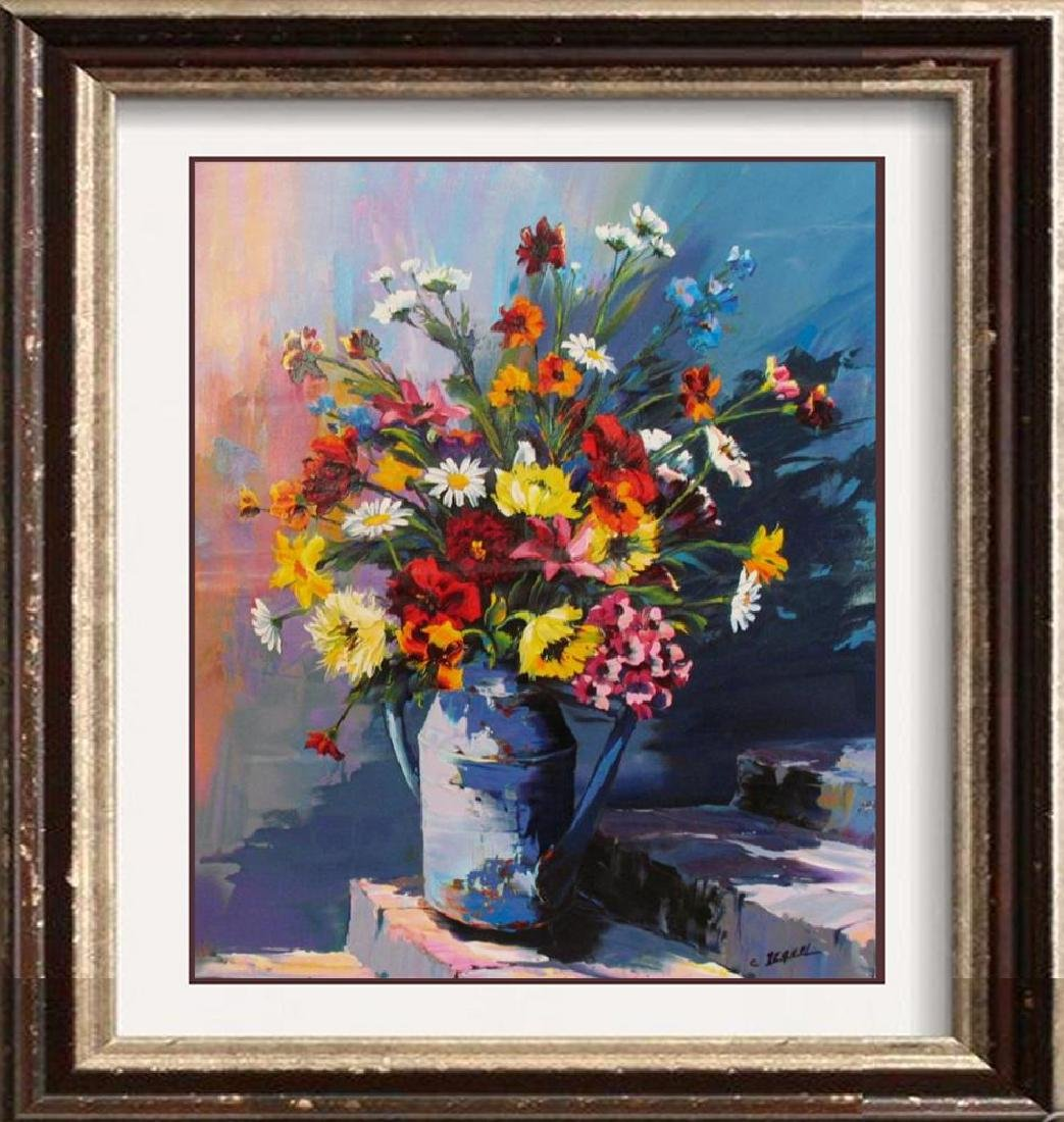 Original Painting Floral Still Life Signed Pequel