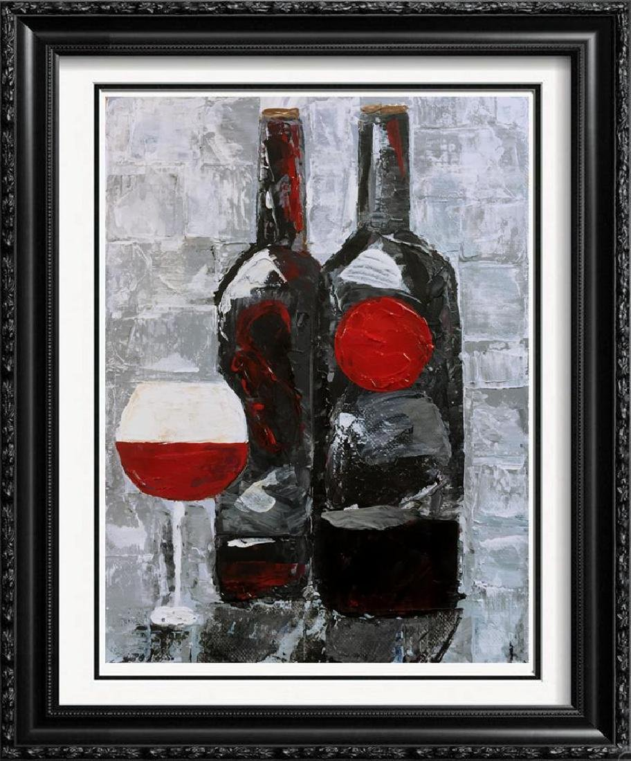 Contemporary Wine Painting Modern Black Red White