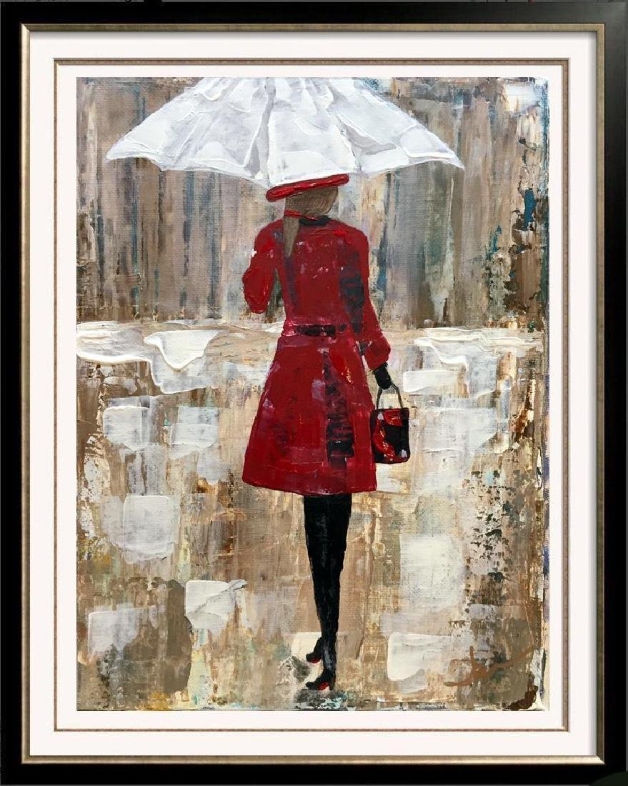 Girl with Umbrella Red Dress Bold Colors Original