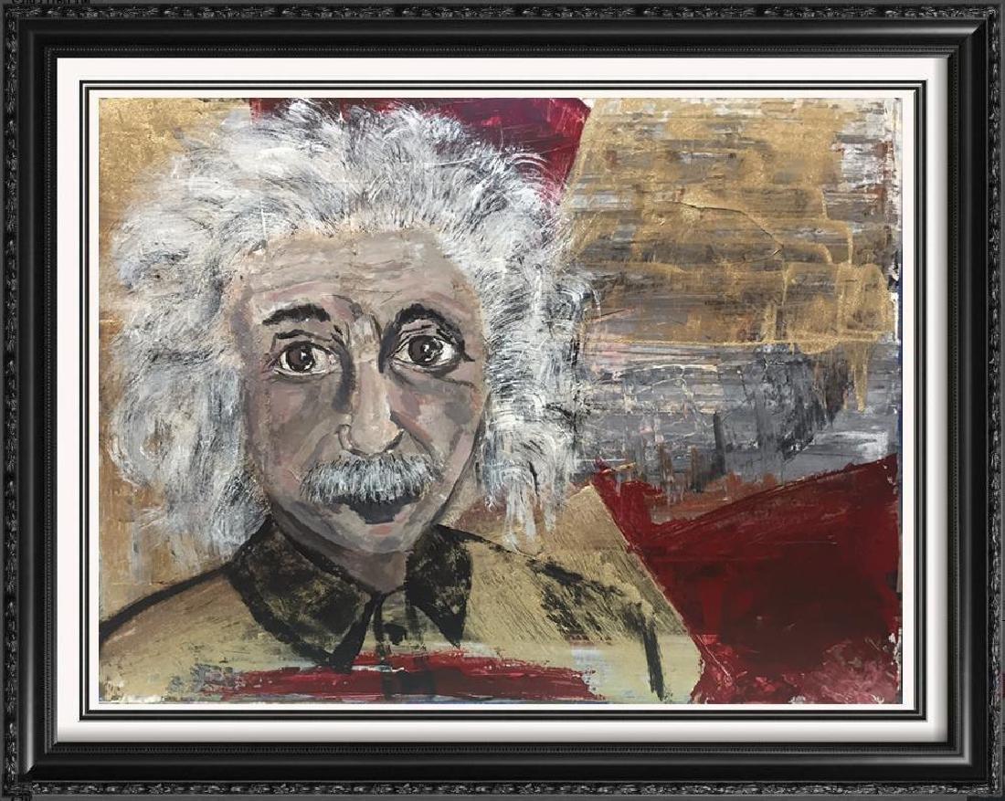 Einstein Original Art Canvas Textured Acrylic Painting