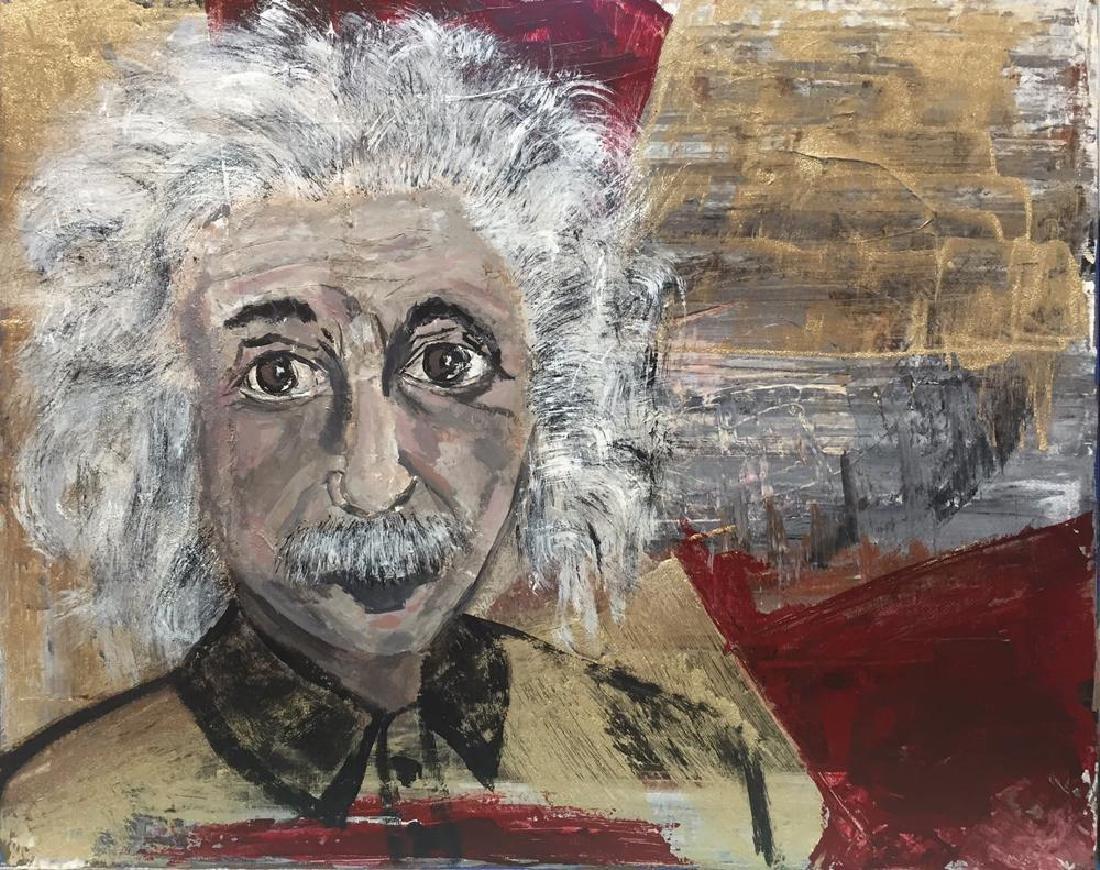 Einstein Original Art Canvas Textured Acrylic Painting - 2