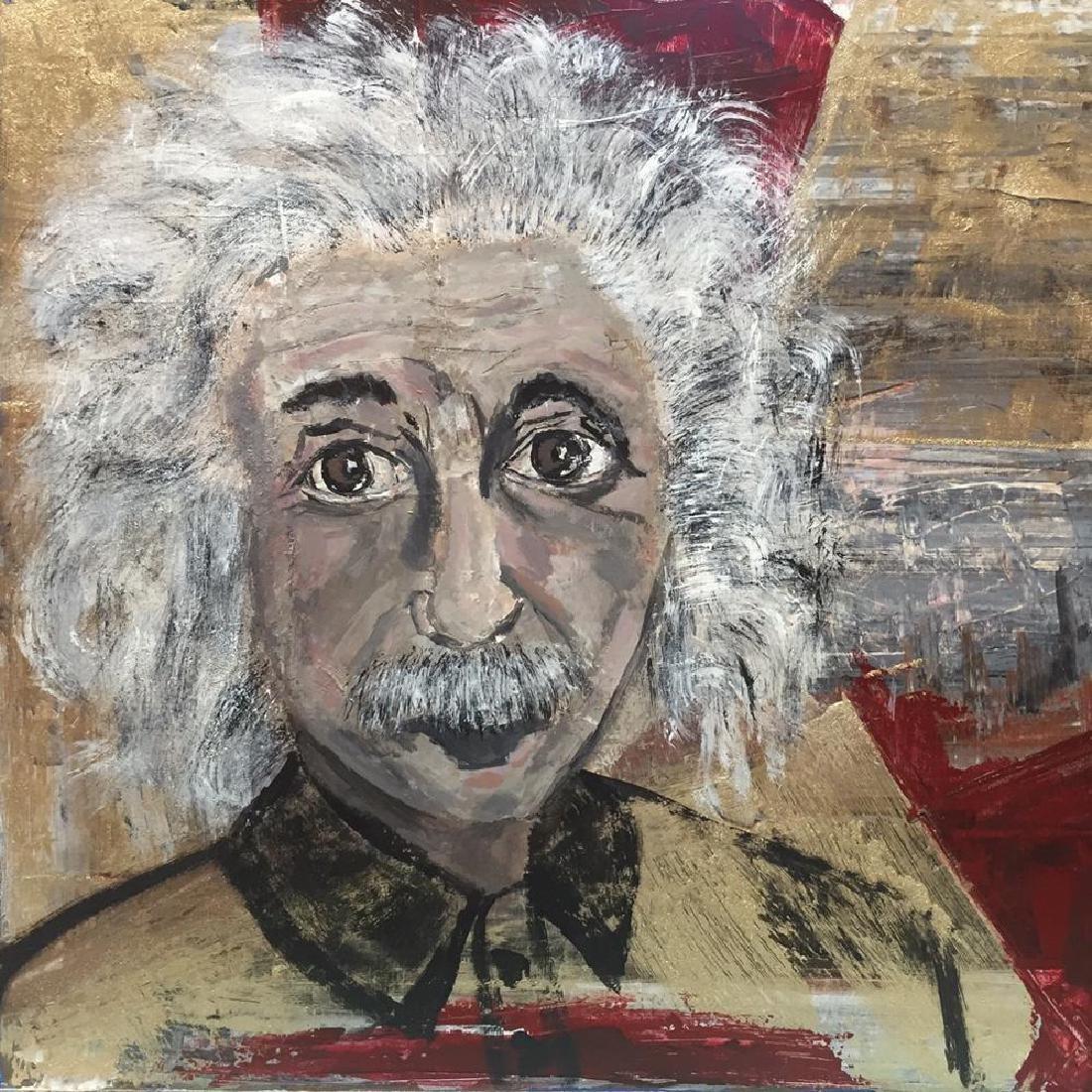 Einstein Original Art Canvas Textured Acrylic Painting - 3