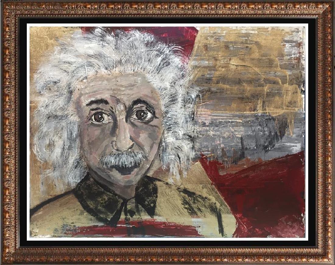 Einstein Original Art Canvas Textured Acrylic Painting - 4