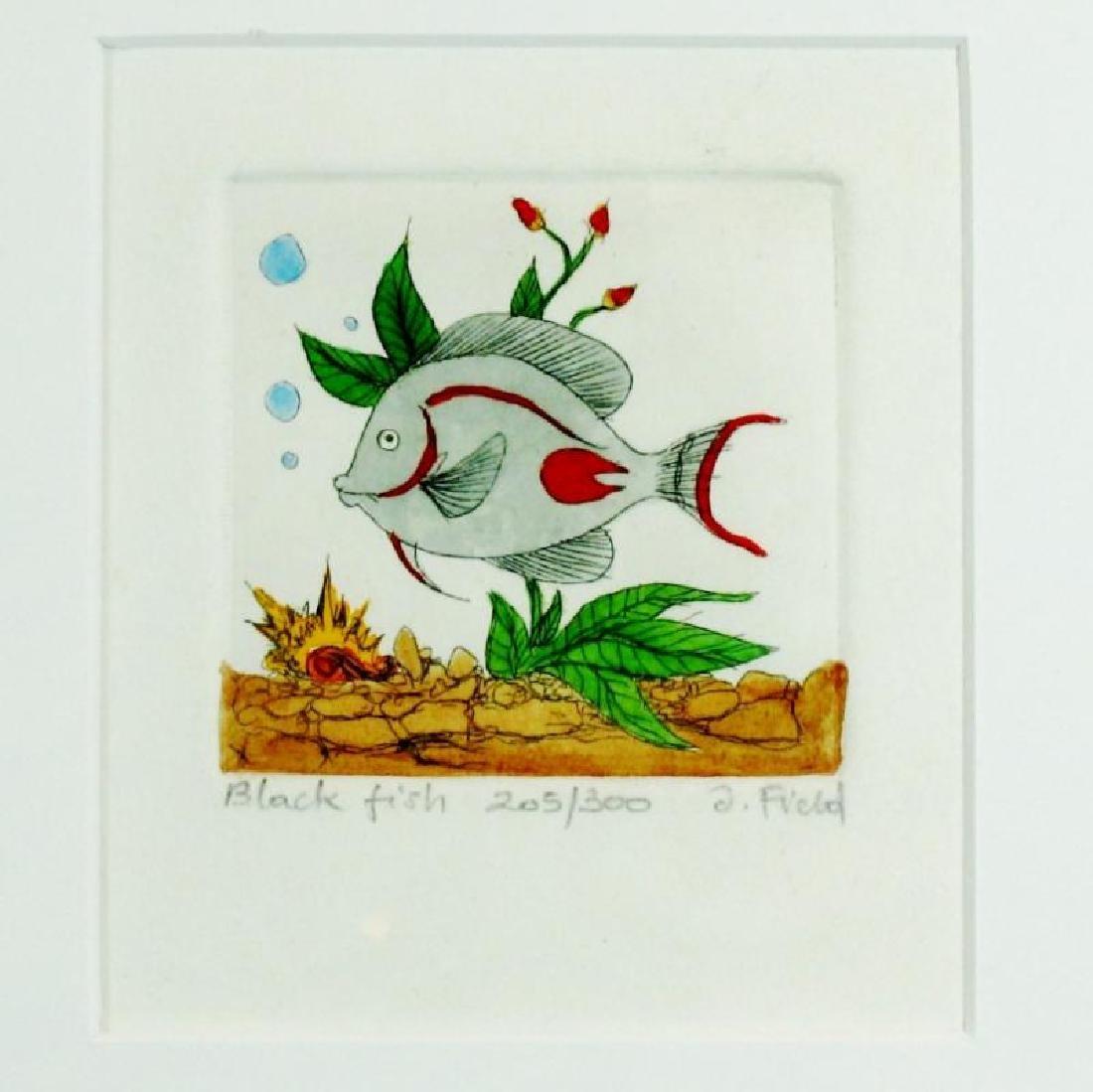Black Fish Signed Etching Ltd Ed Dealer Liquidation Art