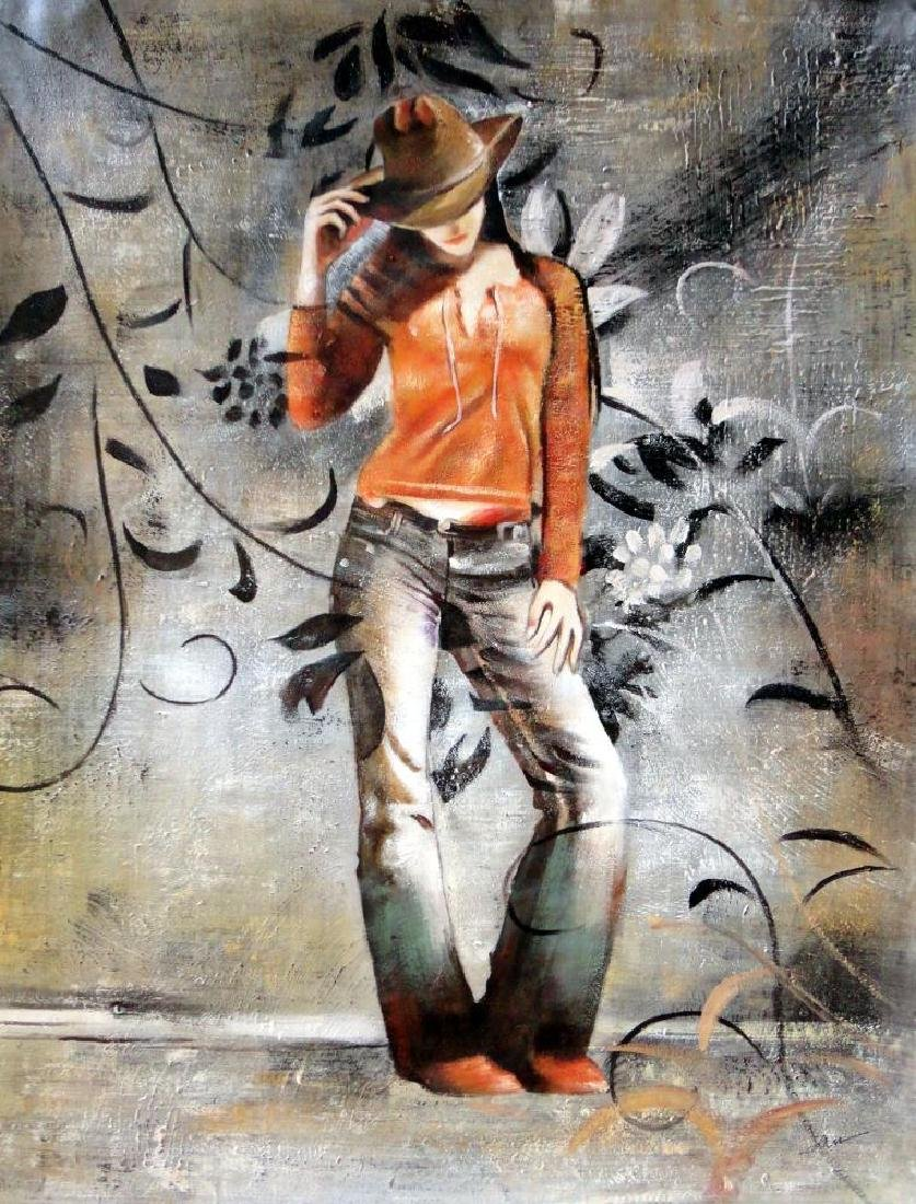 Cowgirl Heavy Textured Original Painting on Canvas