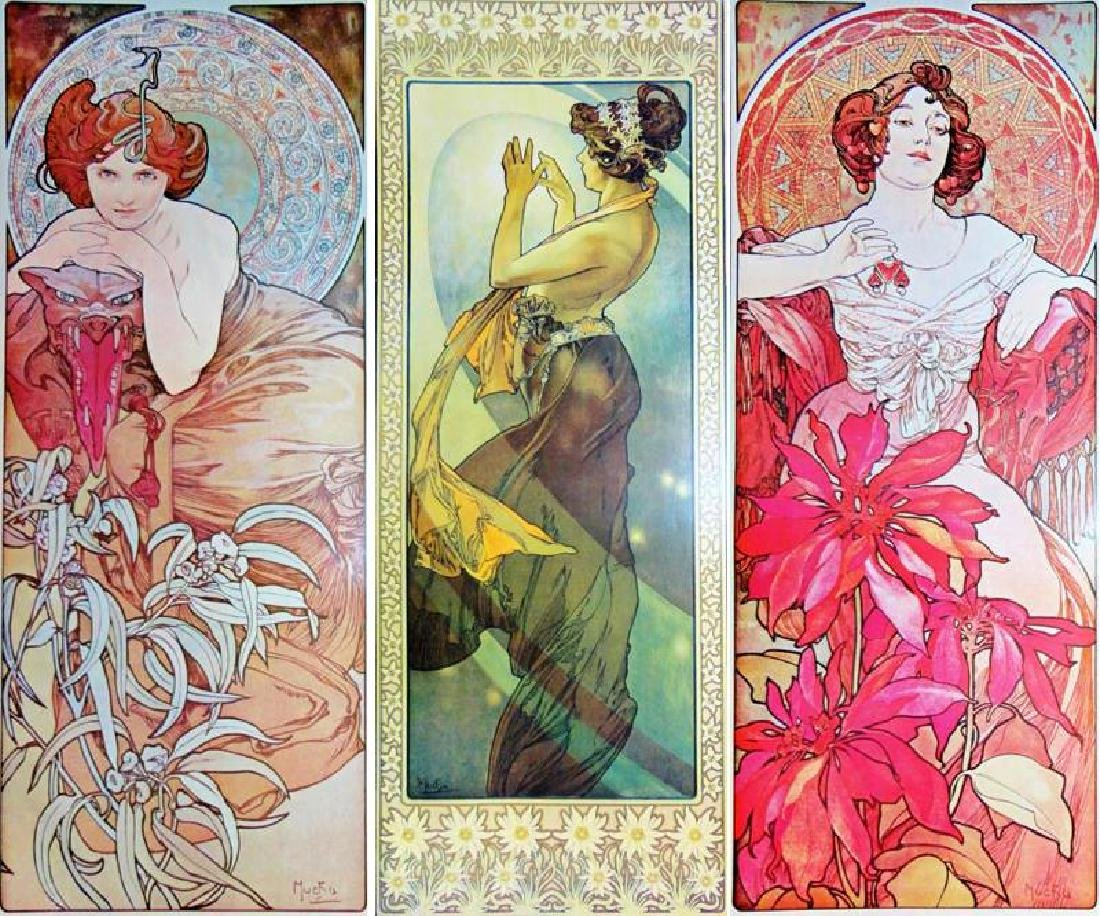 3 Large Mucha Repro Antique Poster Art Prints 48X18