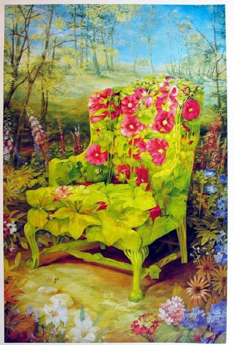 Signed Timothy Martin 1998 Holllyhock Garden Landscape