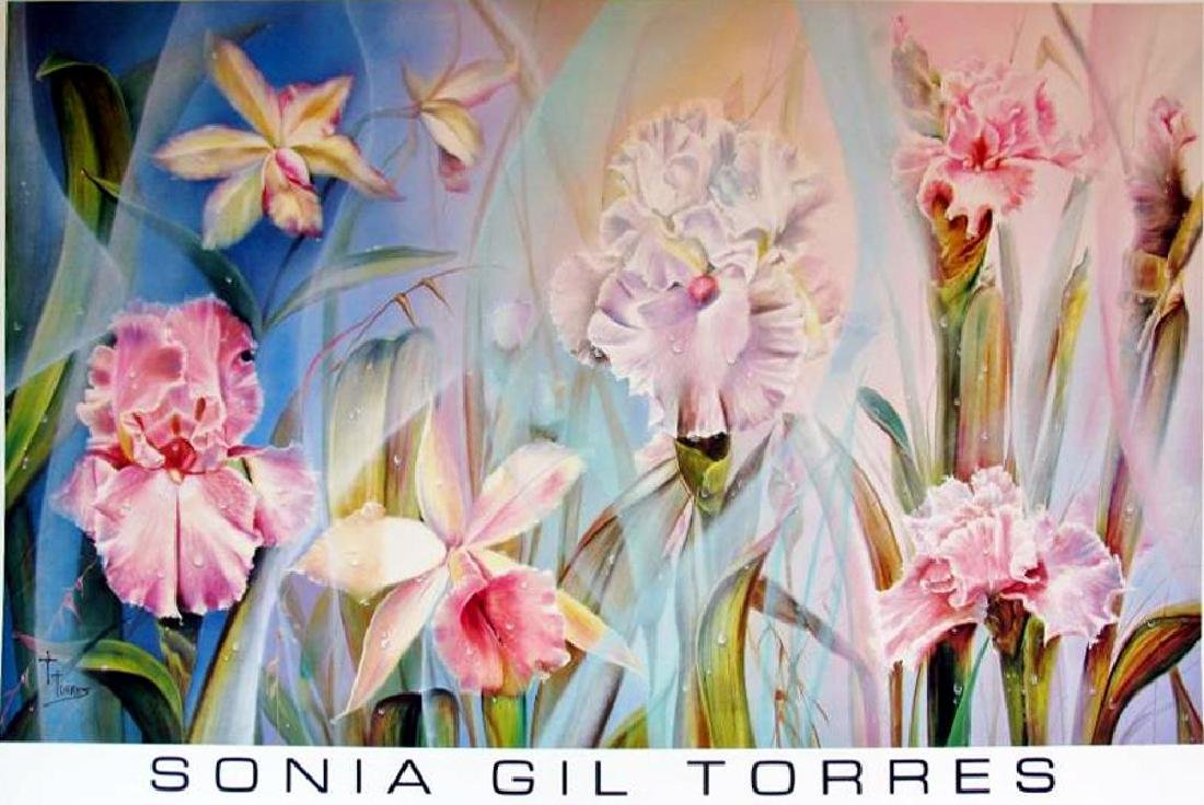 Plate Signed Sonia Gil Torres 1990 Floral - 2