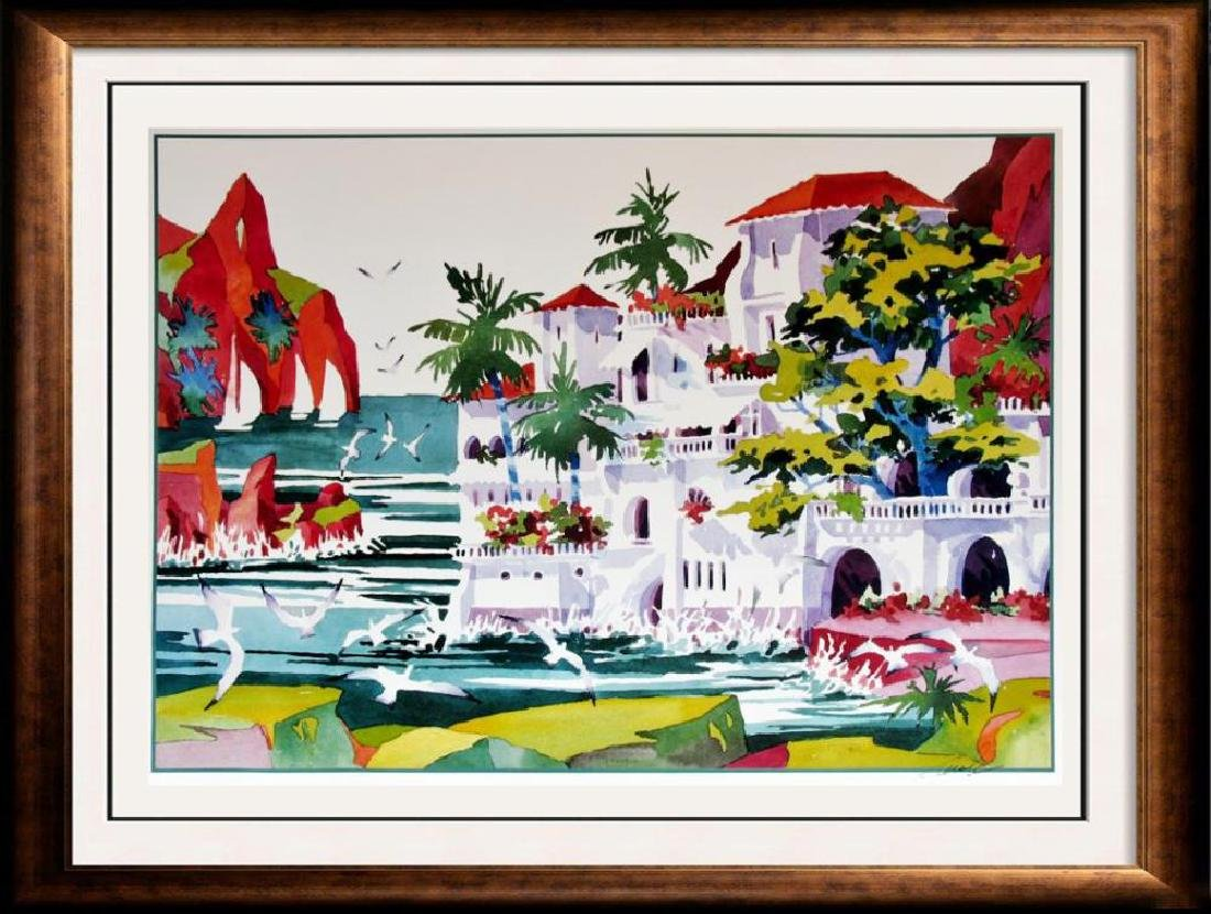 Ken Hawk Hand Signed Villa On Bird Rock Colorful