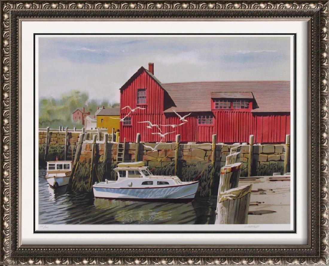 Boat Nautical Red Barn Scene Landscape Ltd Ed Art
