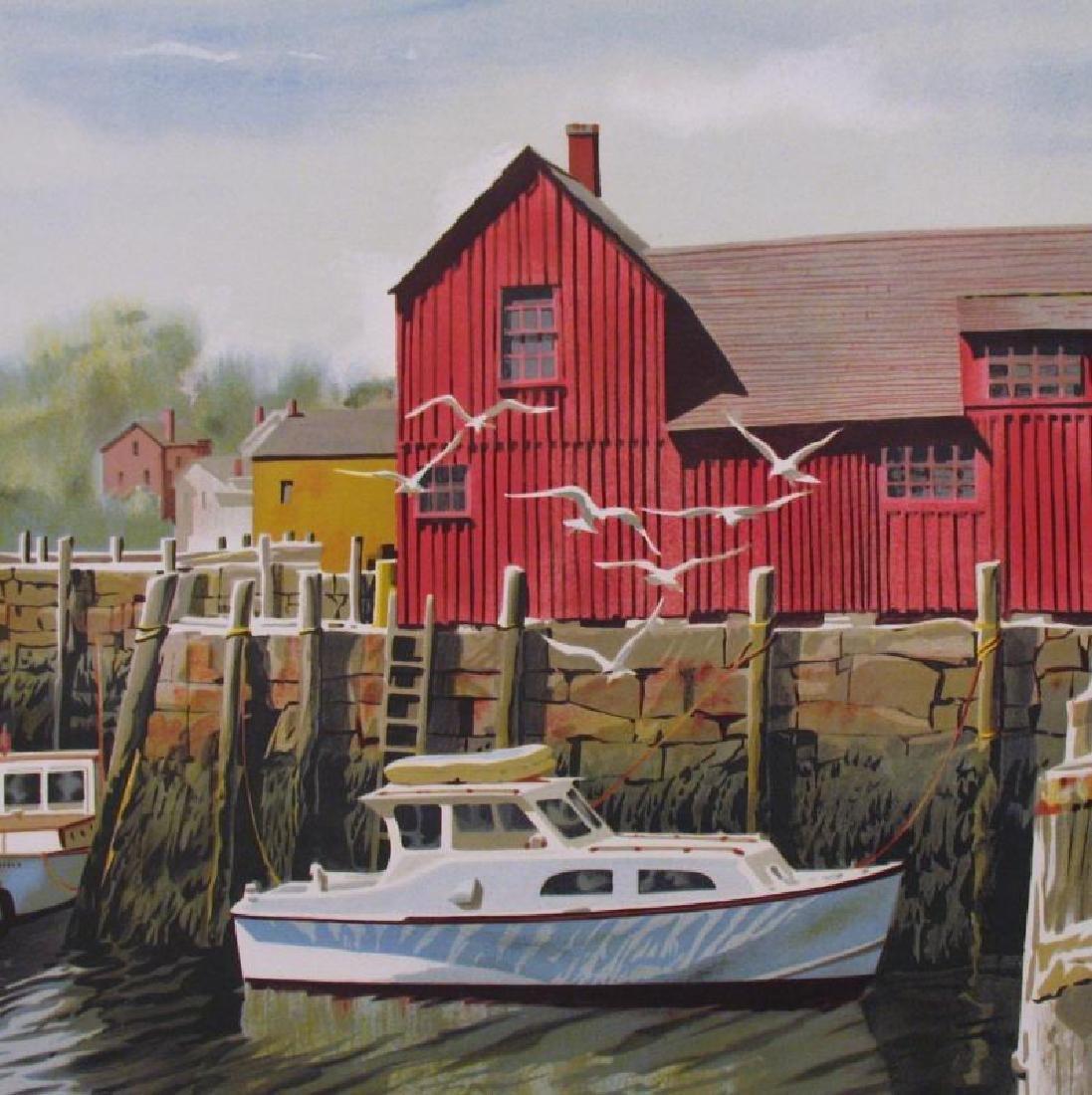 Boat Nautical Red Barn Scene Landscape Ltd Ed Art - 2