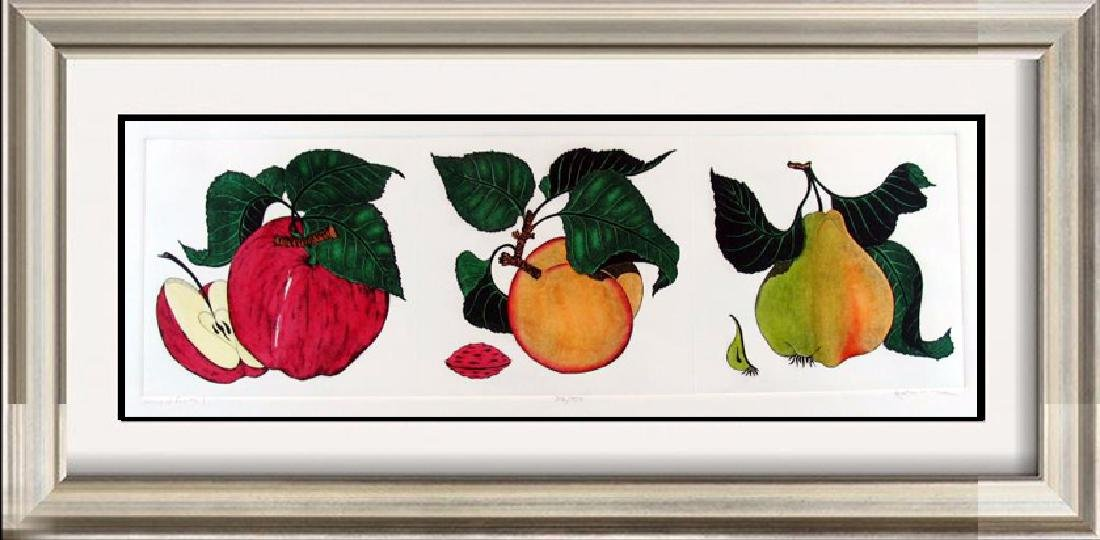 Colorful Fruit Mitra Hand Colored Etching Rare Sale