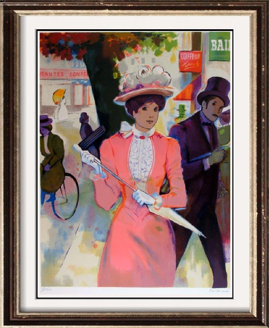 Maimon-Tarkay-Style Woman Parasol Colorful Signed Litho