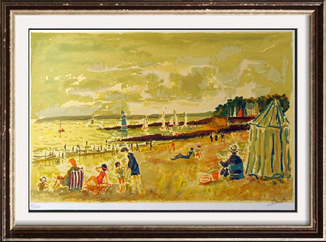 Picot Nostalgia Beach Scene Signed Litho Sale