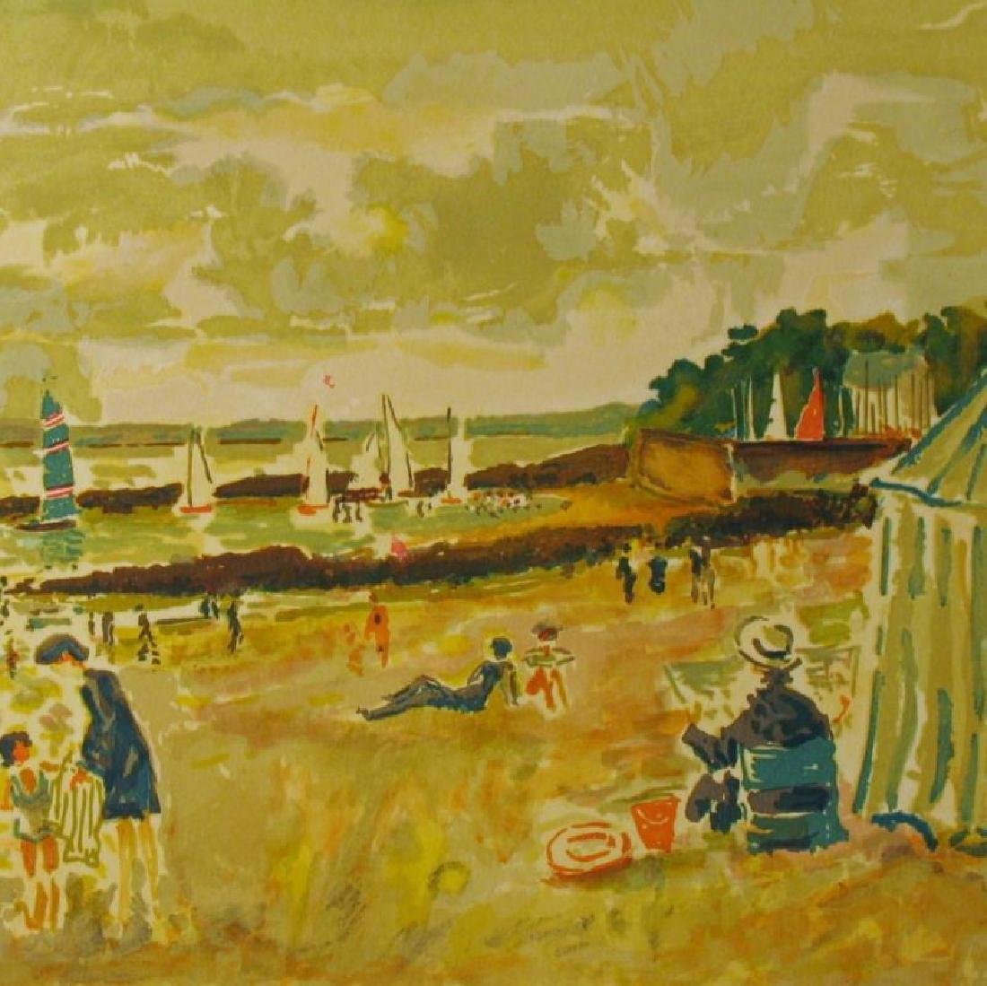 Picot Nostalgia Beach Scene Signed Litho Sale - 2