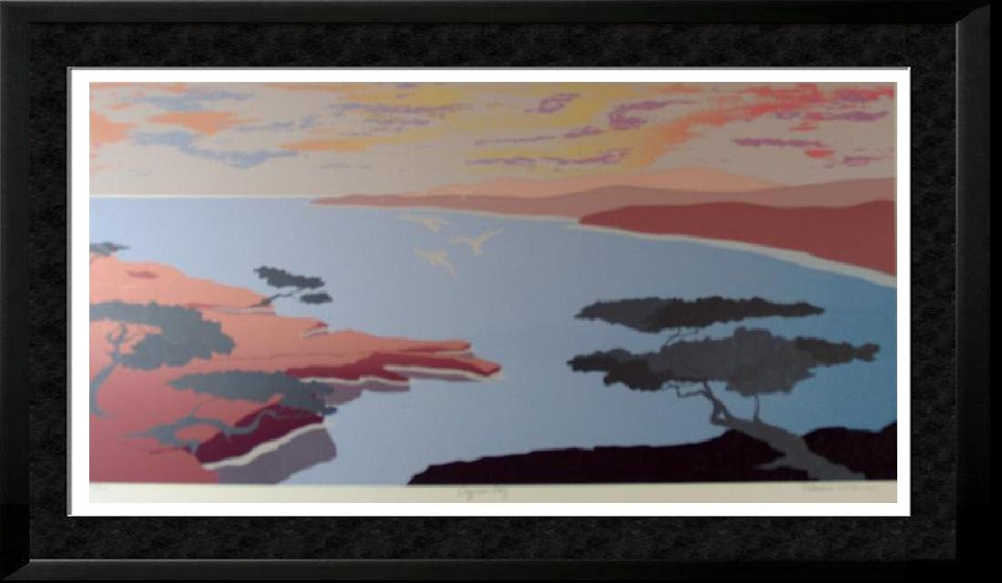 Abstract Modern Cypress Bay Scenic Colorful Signed