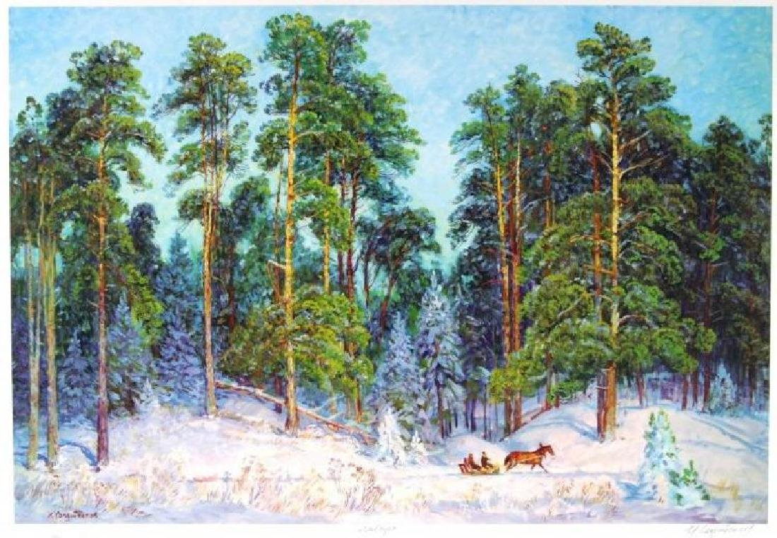 Landscape Beautiful Horses In Snow Limited Ed Signed