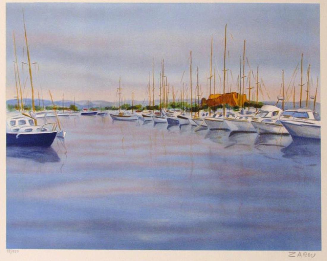 BOAT HARBOUR LANDSCAPE TRADITIONAL IMPRESSIONISTIC ART