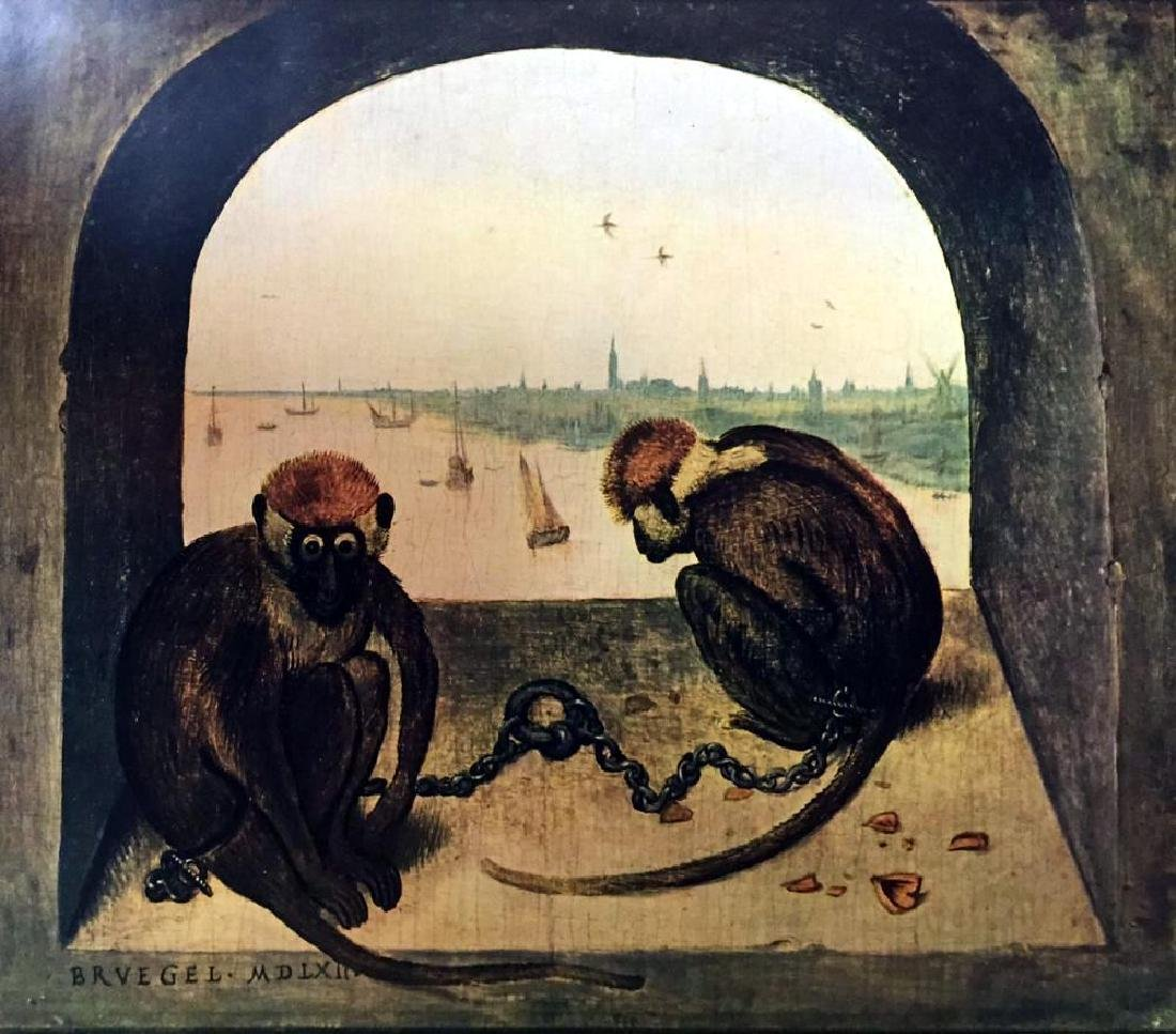 Pieter Bruegel Two Monkeys c.1562 Fine Art Print Signed - 2