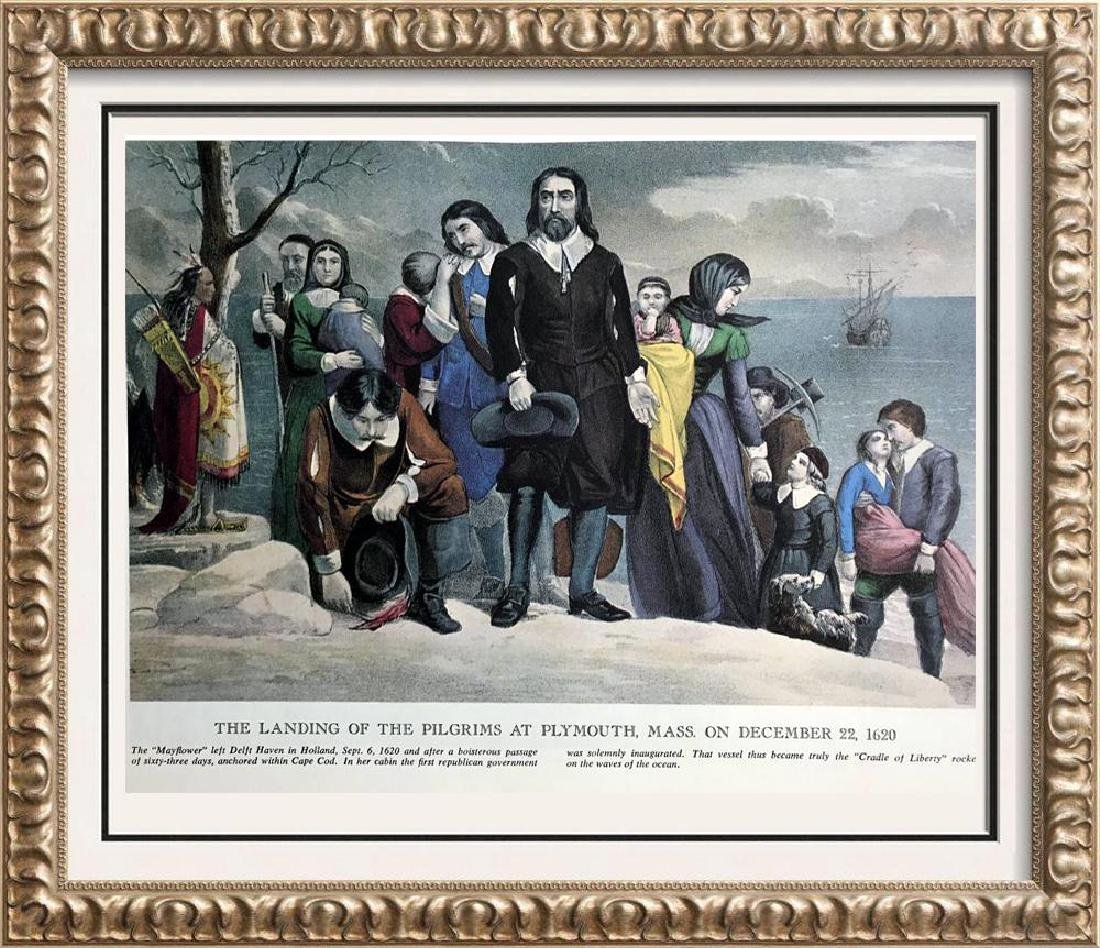 The Landing Of The Pilgrims At Plymouth Color