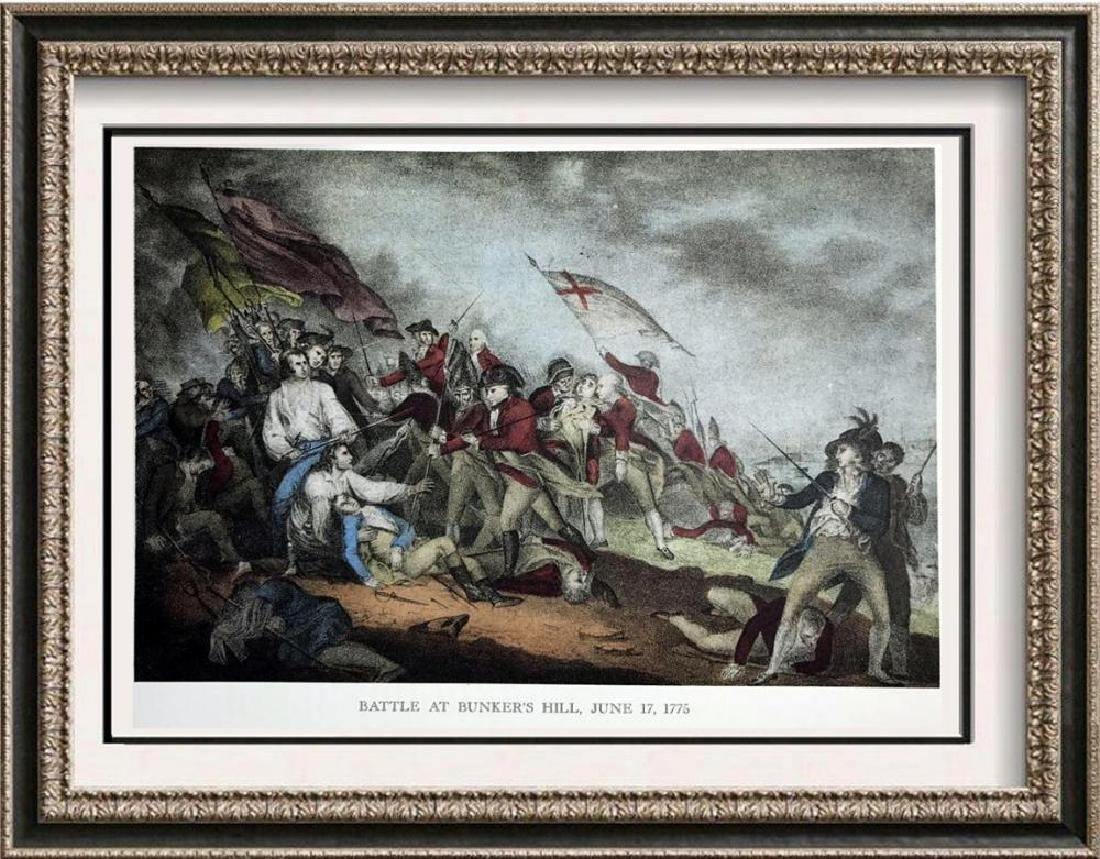 Battle At Bunkers Hill Color Lithographic Fine Art