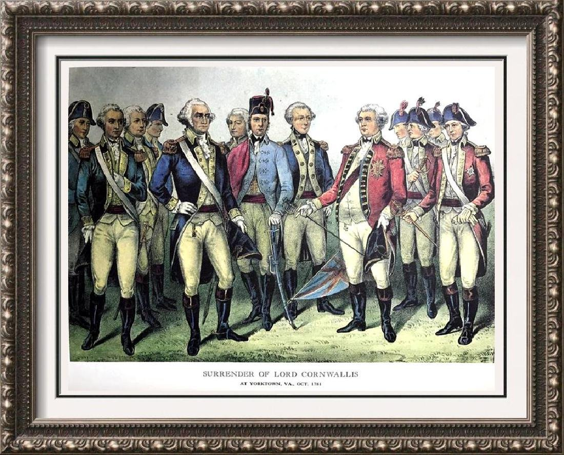 Surrender Of Lord Cornwallis Color Lithographic Fine