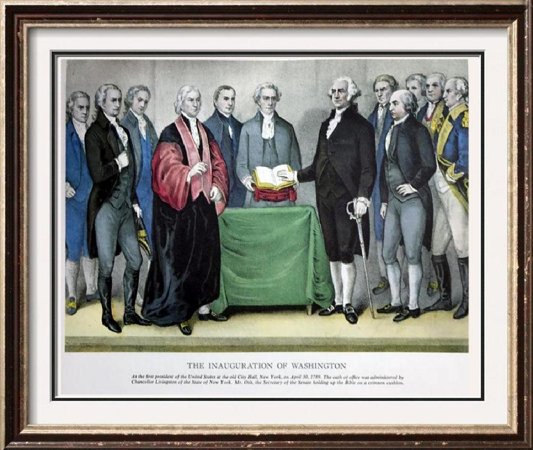 The Inauguration Of Washington Color Lithographic Fine
