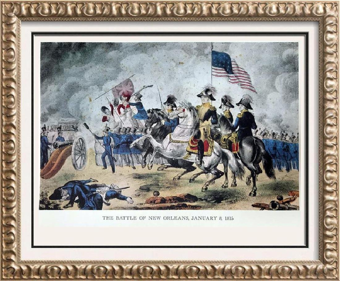 The Battle Of New Orleans Color Lithographic Fine Art