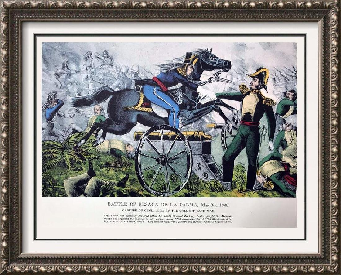 Battle Of Resaca  De La Parma Color Lithographic Fine
