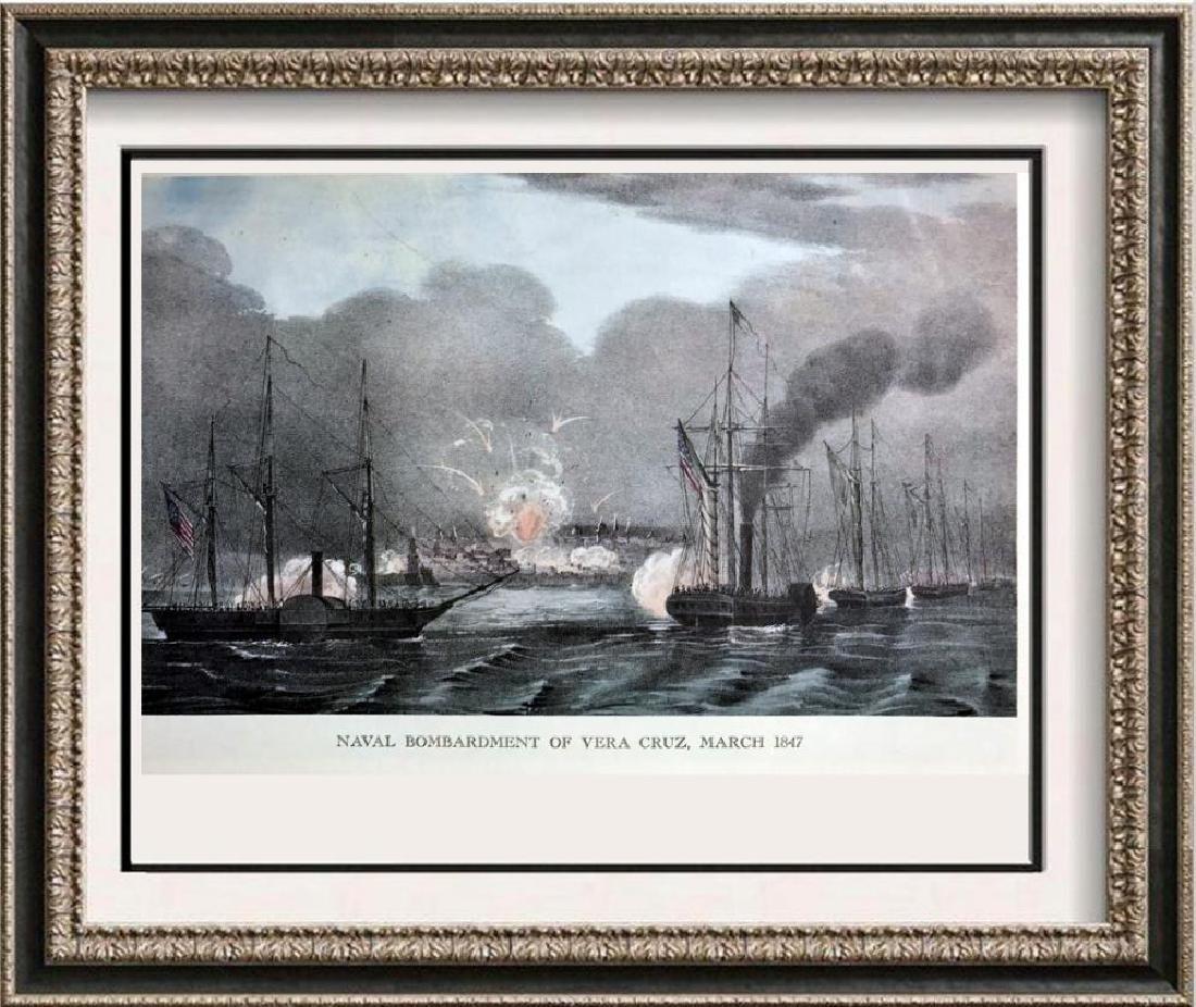 Naval Bombardment Of Vera Cruz Color Lithographic Fine