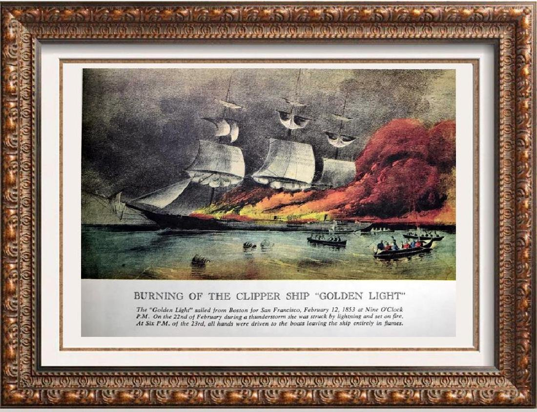 Burning Of The Clipper Ship Golden Light Color