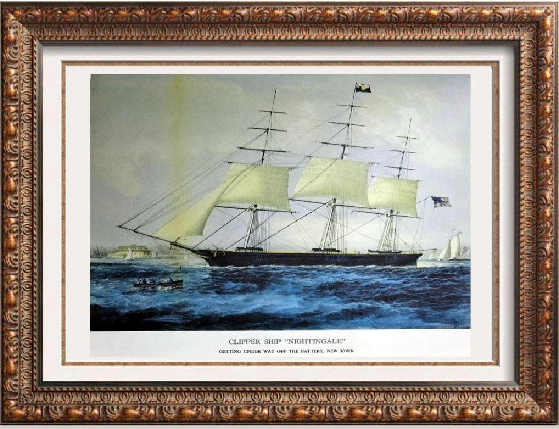 Clipper Ship Nightingale Color Lithographic Fine Art