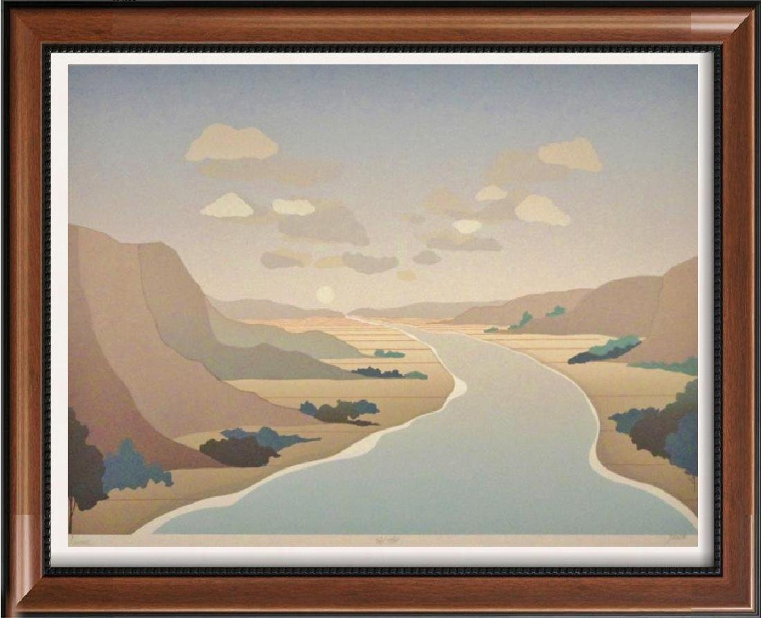 River Lithograph Colorful Stream Signed Limited Edition