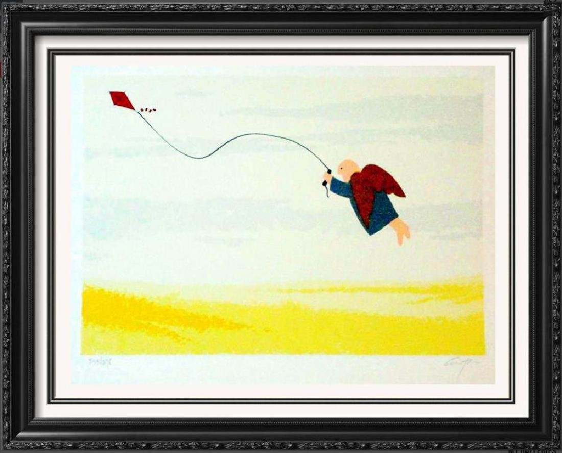 Kite Flying Angel Lithograph Signed Only $30 Art Sale