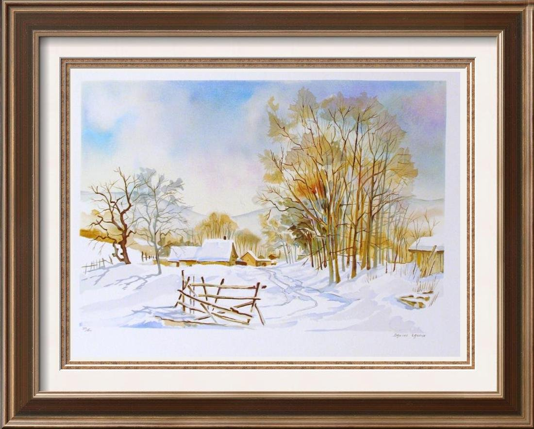 COLORFUL WATERCOLOR LIKE LIMITED EDITION WINTER SCENE
