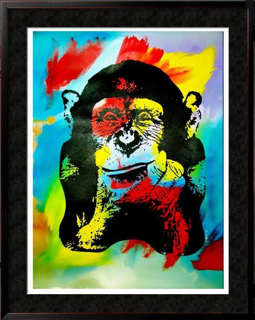 COLORFUL CANVAS ORIGINAL ART WHIMSICAL MONKEY
