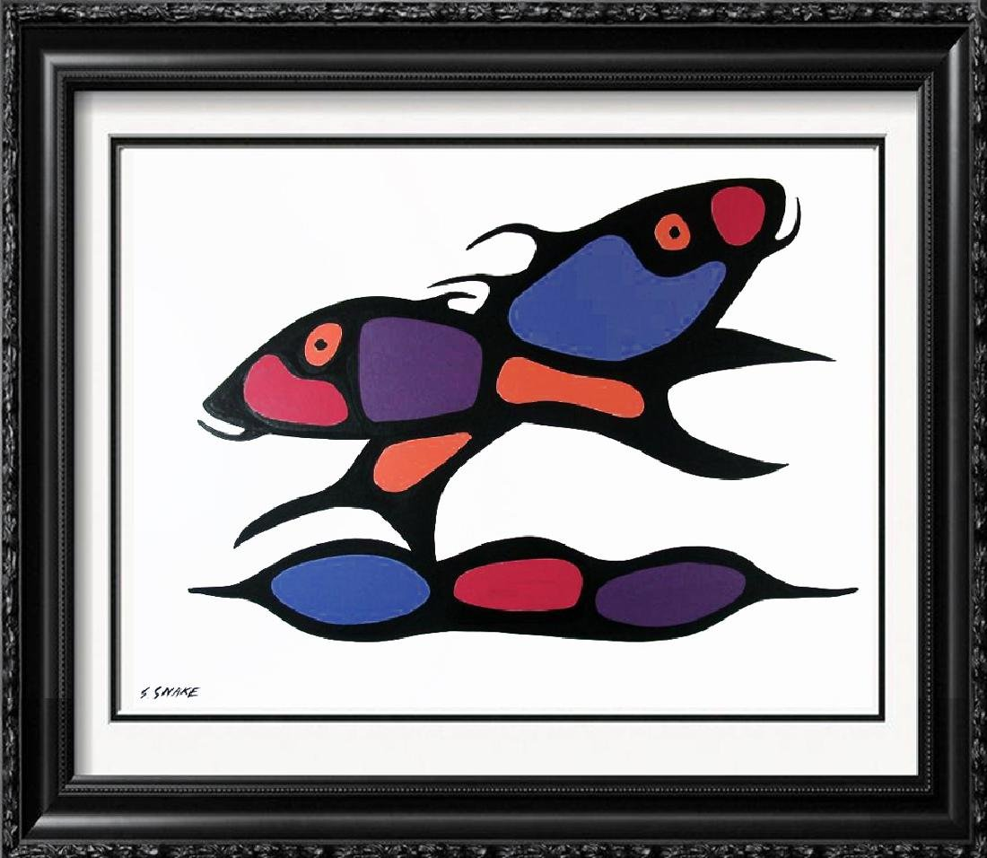 "Abstract Miro ""Style"" Fish Whimsical Original Painting"