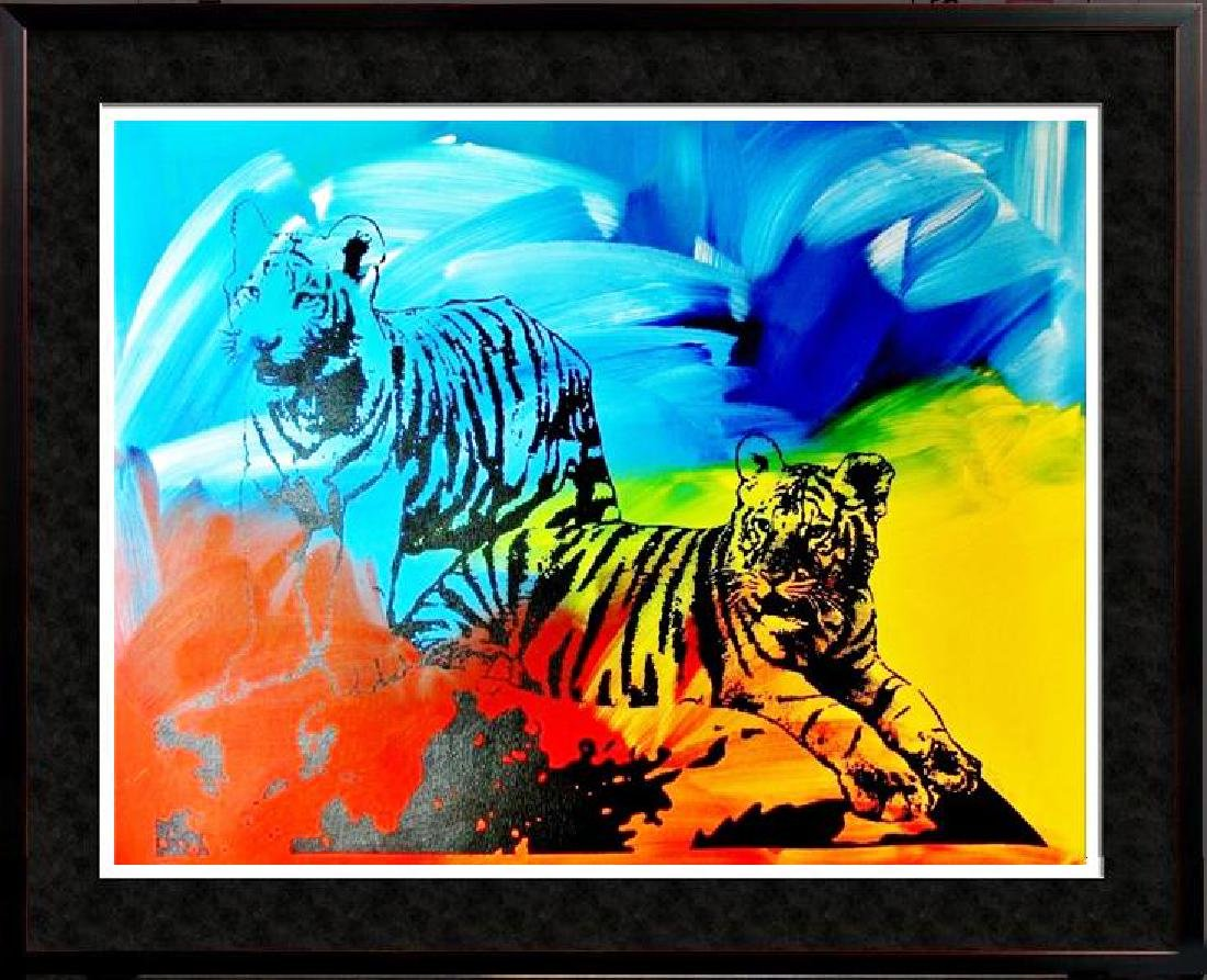 TIGERS COLORFUL ORIGINAL PAINTING LARGE POP ART