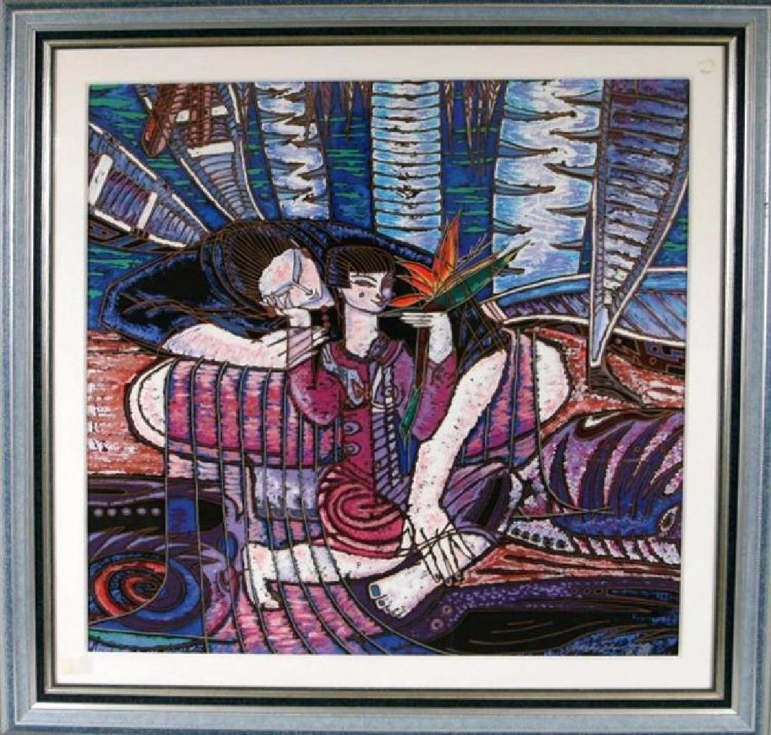 Wong Shue Yunnan Art Signed Ltd Ed Violet Colorful