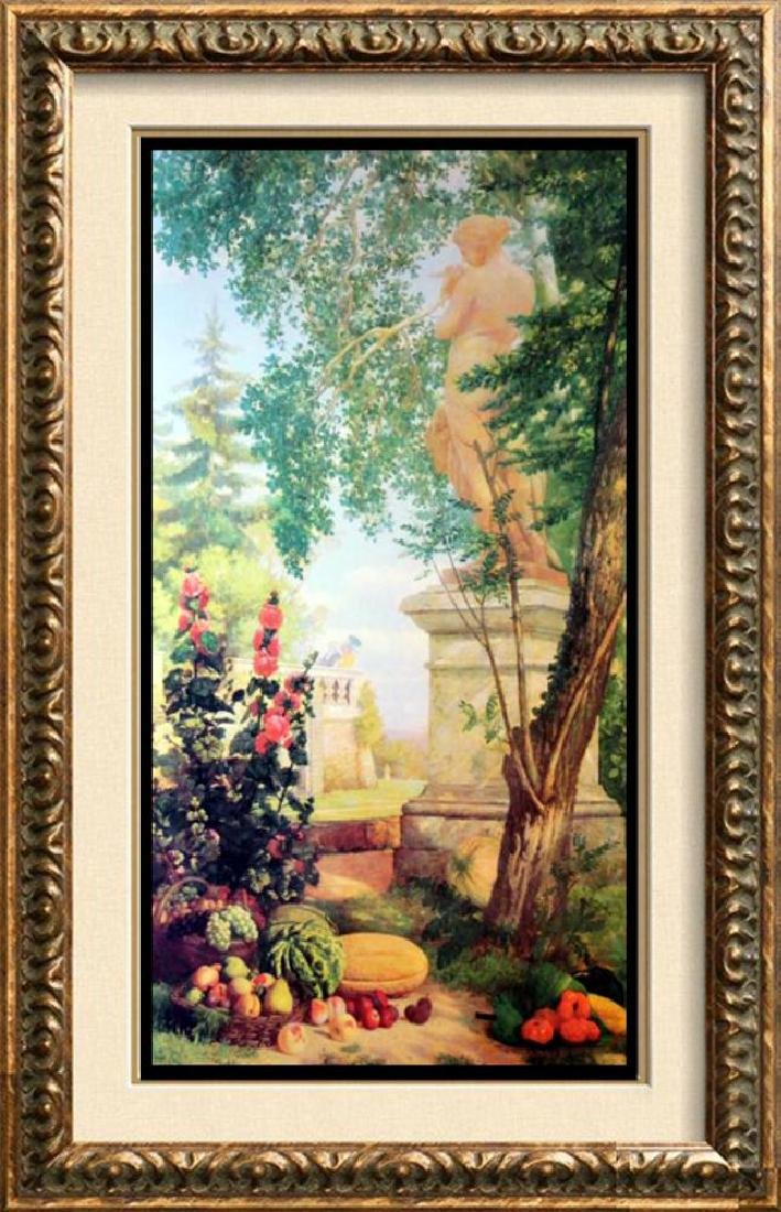 Neo Classical Art Print Colorful Garden Scene 55x29