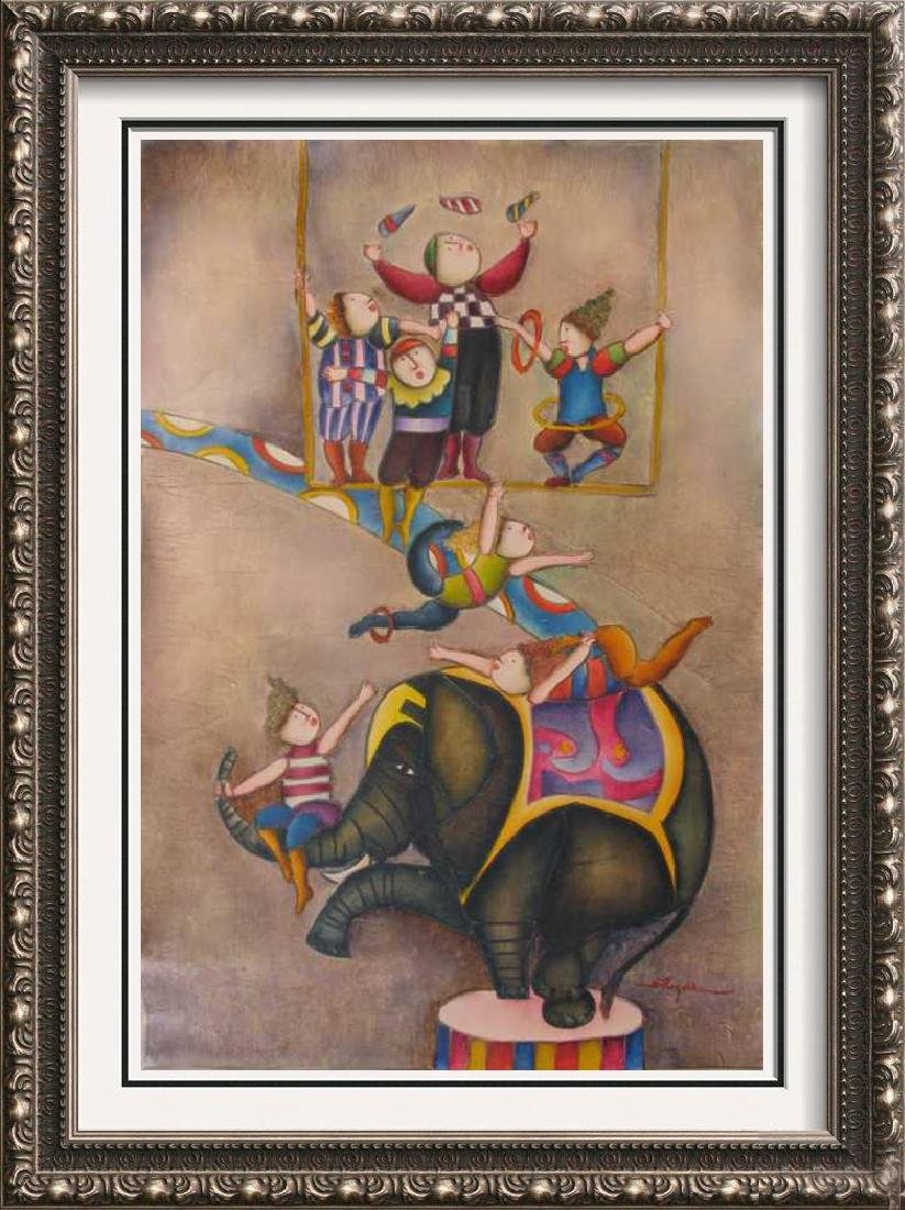 Circus Figures Elephant Colorful Original Canvas