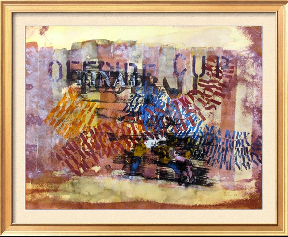 WATERCOLOR ORIGINAL ART MUSICAL ABSTRACT SIGNED