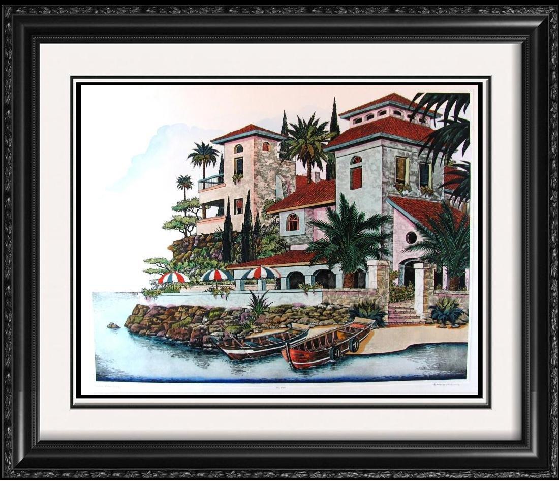 Colorful Villa Etching Signed Ltd Ed European Landscape