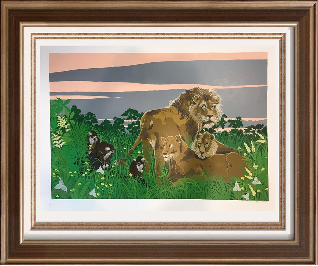 Lion Family Whisical Colorful Signed Large Serigraph