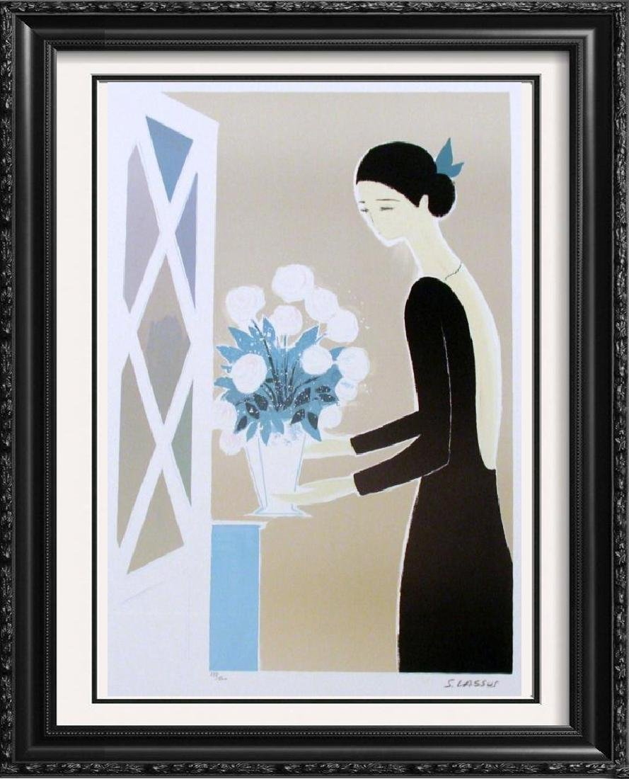 Art Deco Girl with Flowers Modern Signed Limited