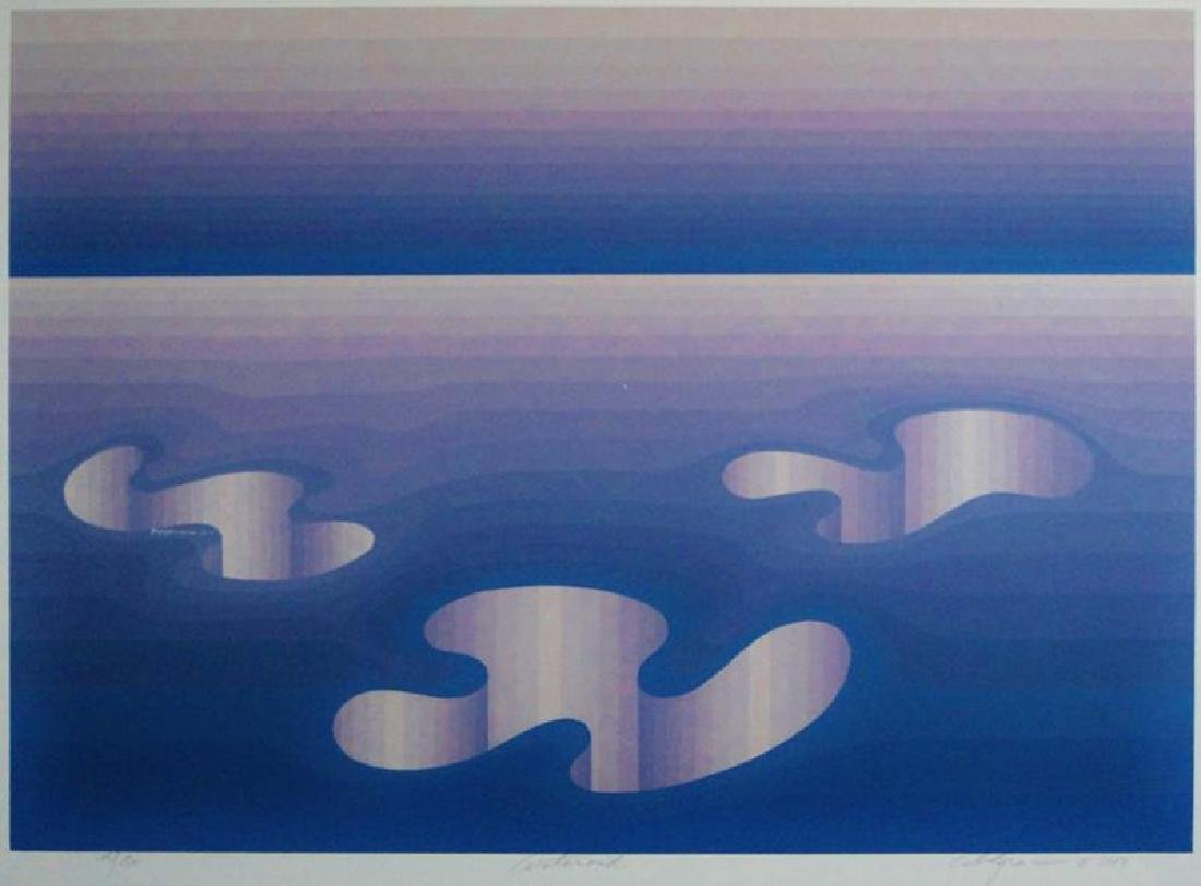 Vasarely Style Signed Serigraph Abstract Blue - 2