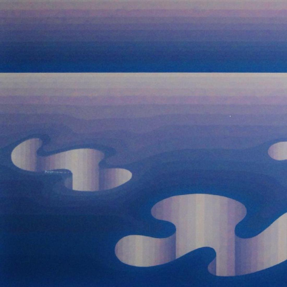 Vasarely Style Signed Serigraph Abstract Blue - 3