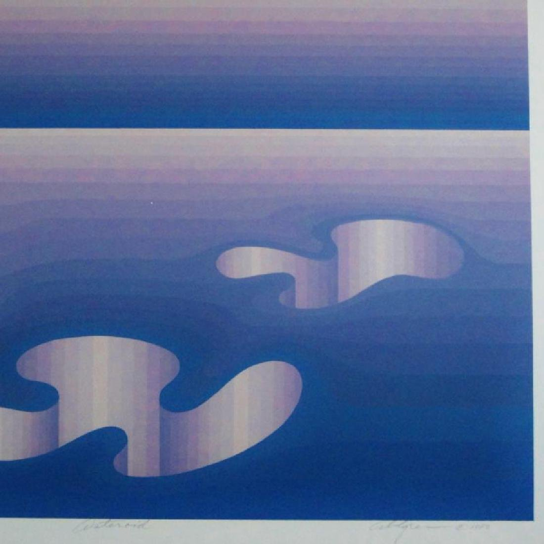 Vasarely Style Signed Serigraph Abstract Blue - 4